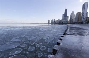 Ice floats on the Lake Michigan during a cold day in downtown Chicago on Feb. 1.