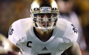 In this Nov. 10, 2012, file photo, Notre Dame linebacker Manti Te'o waits for the snap.