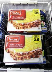 Findus Beef Lasagne photographed in a shop in Jarrow, England, earlier today.