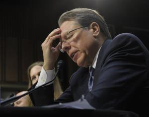 National Rifle Association Chief Executive Officer Wayne LaPierre testifies before the Senate Judiciary Committee hearing on gun violence, on Capitol Hill in Washington, Wednesday, Jan. 30, 2013.