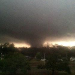 A tornado moves through Hattiesburg, Miss., Sunday, Feb. 10, 2013.
