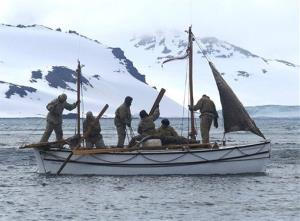 In this Jan. 23, 2013 photo, adventurers aboard their boat Alexander Shackleton leave Elephant Island.