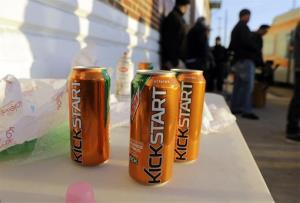 Product cans are on display during the filming of a commercial for a new PepsiCo product called Kickstart, a carbonated drink that is part juice with Mountain Dew flavor.
