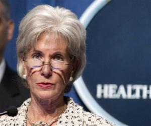 In this Feb. 14, 2012 file photo, Health and Human Services Secretary, Kathleen Sebelius speaks at HHS headquarters in Washington.