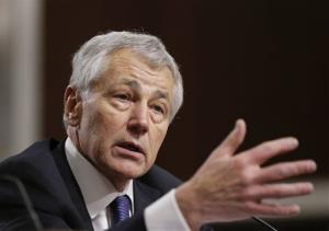 In this Jan. 31, 2013 file photo, former Nebraska Republican Sen. Chuck Hagel testifies on Capitol Hill in Washington.