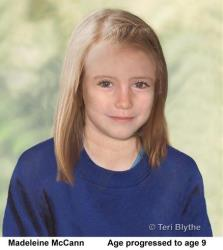 An age progression computer-generated image of missing child Madeleine McCann.