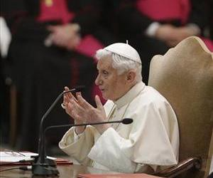 Pope Benedict XVI talks during an audience the with Roman clergy, in the Paul VI Hall at the Vatican, Feb. 14, 2013.