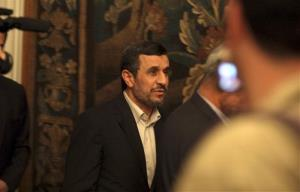 Iran's President Mahmoud Ahmadinejad leaves a press conference in Cairo, Egypt, Thursday Feb. 7, 2013.