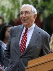 In this May 3, 2012, file photo, Sen. Frank Lautenberg, D-N.J., smiles as he stands on the Rutgers-Camden campus in Camden, N.J.