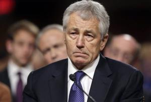Republican Chuck Hagel testifies before the Senate Armed Services Committee in this file photo.