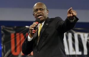 Herman Cain speaks during a Unity Rally Sunday Aug. 26, 2012, in Tampa, Fla.