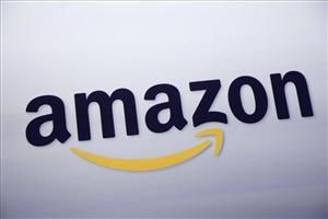 The logo for Amazon.com is displayed at a news conference, Wednesday, Sept. 28, 2011 in New York.