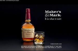 A bottle of Maker's Mark in an advertisement.