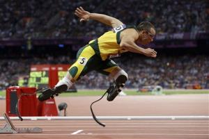 In this Aug.  5, 2012  photo, South Africa's Oscar Pistorius starts in the men's 400-meter semifinal at the 2012 Summer Olympics in London.