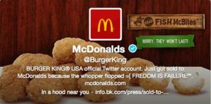 This frame grab taken Monday, Feb. 18, 2013, shows what appears to be Burger King's Twitter account after it was apparently hacked.