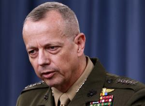 In this file photo, Marine Gen. John Allen speaks during a news conference at the Pentagon. President Obama says he has accepted Allen's request to retire from military.