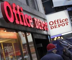 In this Dec. 20, 2010 photo, an Office Depot store, near New York's Times Square, is shown.