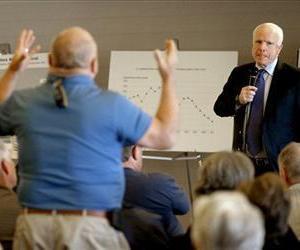 John McCain listens to a question during a town hall, Feb. 19, 2013, in Sun Lakes, Ariz.