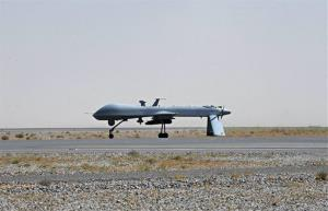 File photo a US Predator drone armed with a missile stands on the tarmac of Kandahar military airport in Afghanistan.