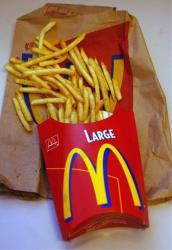 This undated file photo shows a large order of McDonald's french fries.