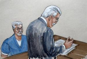 In this courtroom sketch, Drew Peterson, left, watches the proceedings during his sentencing.