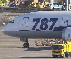 A Boeing 787 sits on the tarmac at Haneda airport in Tokyo.