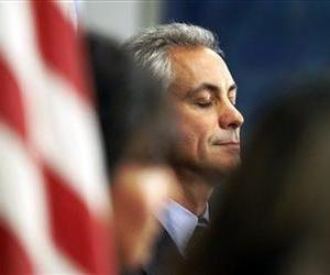 Rahm Emanuel closes his eyes during a news conference after the Chicago Teacher's Union House of Delegates voted to suspend their strike against the school system Tuesday, Sept. 18, 2012, in Chicago.