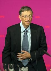 Microsoft co-founder Bill Gates arrives for a conference of the German Social Democratic party, SPD, in Hermannswerder near Potsdam, Germany, Monday, Jan. 28, 2013.