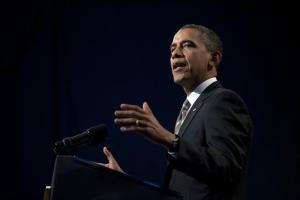 President Obama speaks in Chicago on Feb. 15.