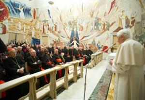 In this photo provided by the Vatican newspaper L'Osservatore Romano, Pope Benedict XVI delivers his message concluding a weeklong spiritual retreat at the Vatican Saturday.