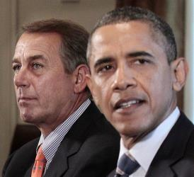 A July 2011 photo of House Speaker John Boehner and President Obama.
