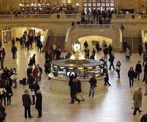 In this Jan. 9, 2013 file photo, pedestrians and travelers stroll through the main concourse of Grand Central Terminal in New York.