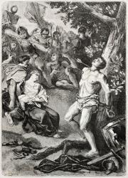 Old illustration of Saint Sebastian martyrdom. Created by Pecher, published on L'Illustration Journal Universel, Paris, 1857.
