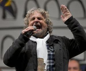Italian comic-turned-political agitator Beppe Grillo, leader of the anti-establishment 5 Star Movement, delivers his speech during a final rally before the general elections, in Rome, Feb. 22, 2013.