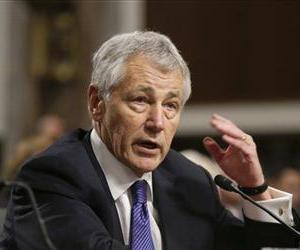 In this Jan. 31, 2013, file photo, Secretary of Defense nominee Chuck Hagel testifies before the Senate Armed Services Committee during his confirmation hearing on Capitol Hill.