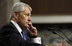 A file photo of former Nebraska Sen. Chuck Hagel testifying before the Senate Armed Services Committee.
