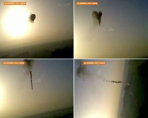 In this combo made from images from amateur video provided by Al-Jazeera, smoke pours from a hot air balloon over Luxor, Egypt.