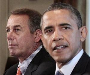 John Boehner listens as President Barack Obama speaks during a meeting with Congressional leadership, in this July 7, 2011 file photo.