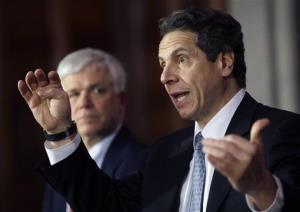 New York Gov. Andrew Cuomo speaks during a news conference in Albany.