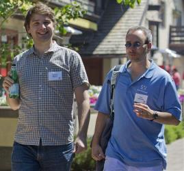 Andrew Mason, left, CEO of Groupon, and Erik Lefkofsky, chiarman of Groupon, in a 2011 file photo.