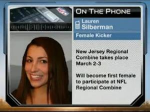 Lauren Silberman will make history Sunday when she becomes the first woman to compete in the NFL's regional trials, trying to become a kicker.