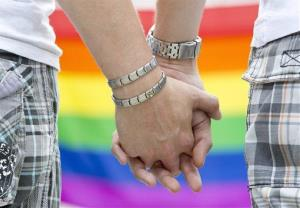 The July 16, 2011 file photo shows two homosexual men holding hands during Christopher Street Day in Weimar, eastern Germany.