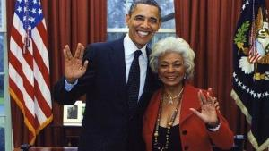 Star Trek's Nichelle Nichols (Lt. Uhura) posted this photo on Twitter last year of herself and the president.