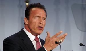 Arnold Schwarzenegger delivers in Vienna, Austria, in January.