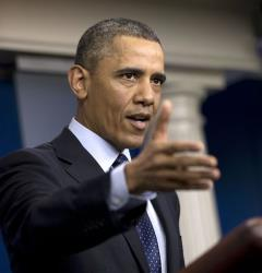 President Barack Obama speaks to reporters in the White House briefing room in Washington, Friday, March 1, 2013.