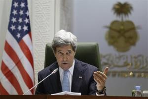 ohn Kerry speaks during a news conference with Prince Saud al-Faisal, not pictured, at the Ministry of Foreign Affairs in Riyadh, Saudi Arabia on Monday, March 4, 2013.