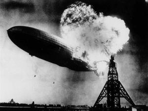 This May 6, 1937 file photo, taken at almost the split second that the Hindenburg exploded, shows the 804-foot German zeppelin just before the second and third explosions send the ship crashing.
