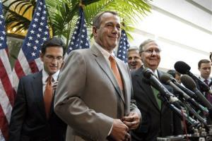 House Speaker John Boehner of Ohio, center, accompanied by fellow GOP leaders, arrives for a news conference on Capitol Hill in Washington, Wednesday, June 6, 2012.