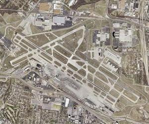 Lambert Field airport in St. Louis is seen in this satellite photo.
