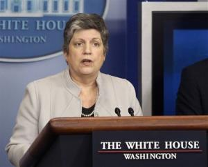 In this Feb. 25, 2103 file photo, Homeland Security Secretary Janet Napolitano briefs reporters  at the White House in Washington.